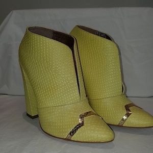 Just Cavali, Snakeskin embossed Bootie - Yellow